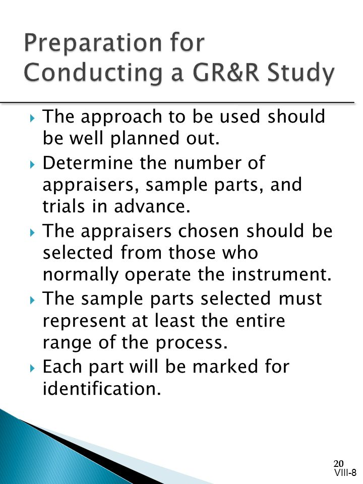 Preparation for Conducting a GR&R Study