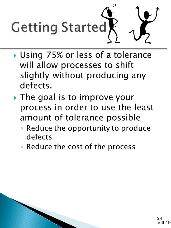 Getting Started Using 75% or less of a tolerance will allow processes to shift slightly without producing any defects.