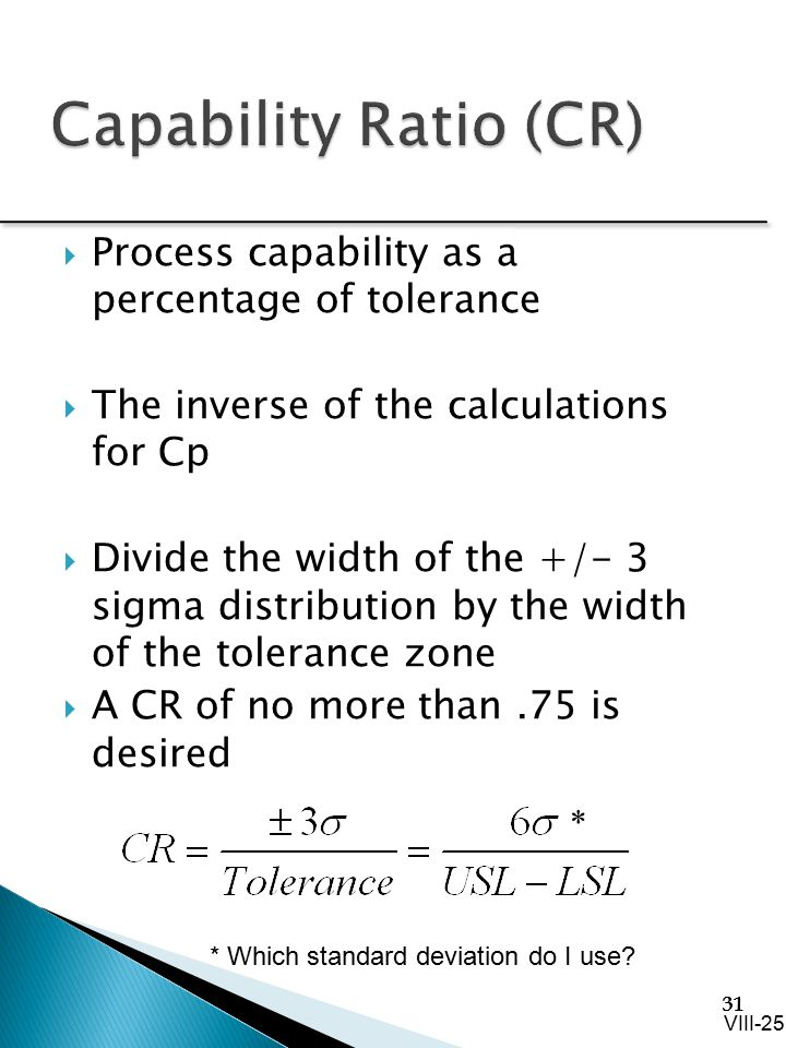 Capability Ratio (CR) Process capability as a percentage of tolerance
