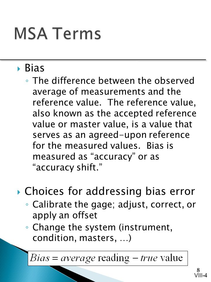 MSA Terms Bias Choices for addressing bias error