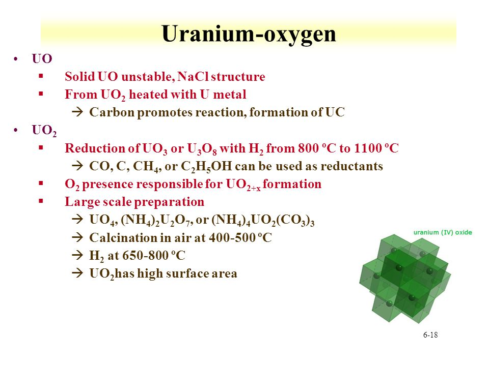 Uranium-oxygen UO Solid UO unstable, NaCl structure