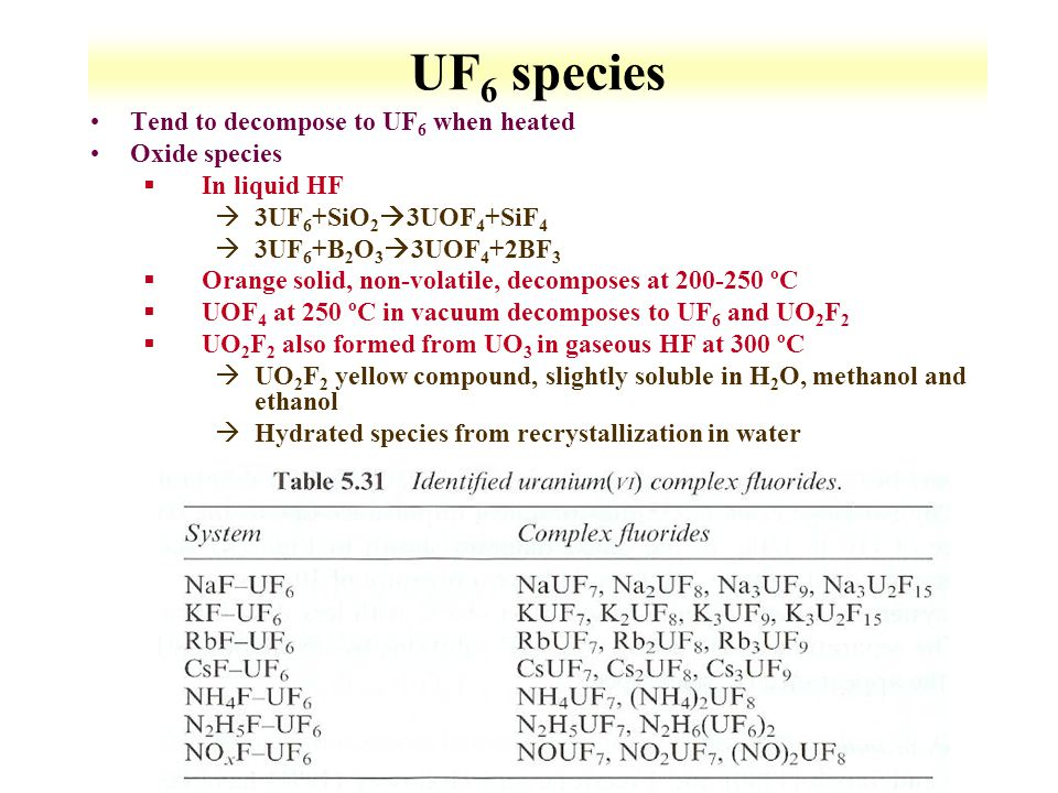 UF6 species Tend to decompose to UF6 when heated Oxide species