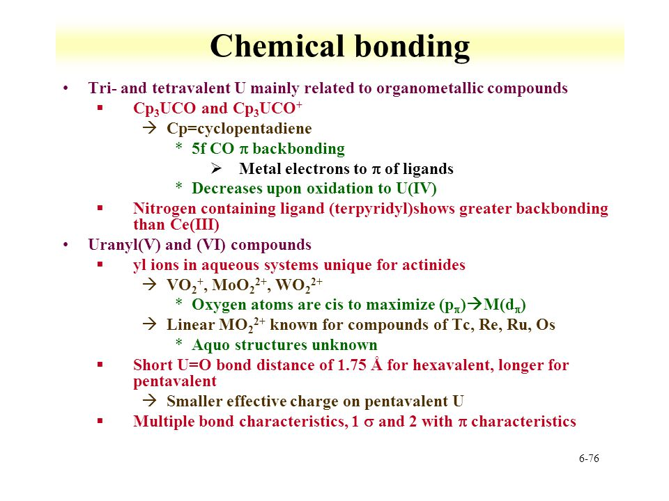 Chemical bonding Tri- and tetravalent U mainly related to organometallic compounds. Cp3UCO and Cp3UCO+