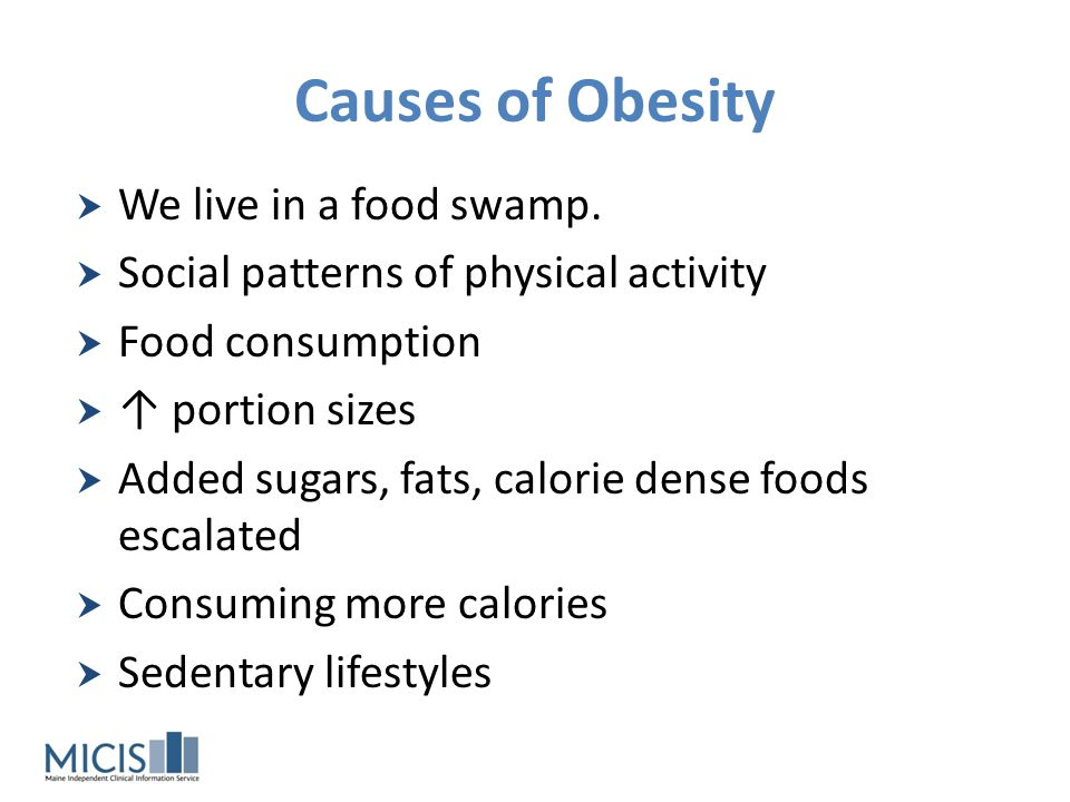 Causes of Obesity We live in a food swamp.