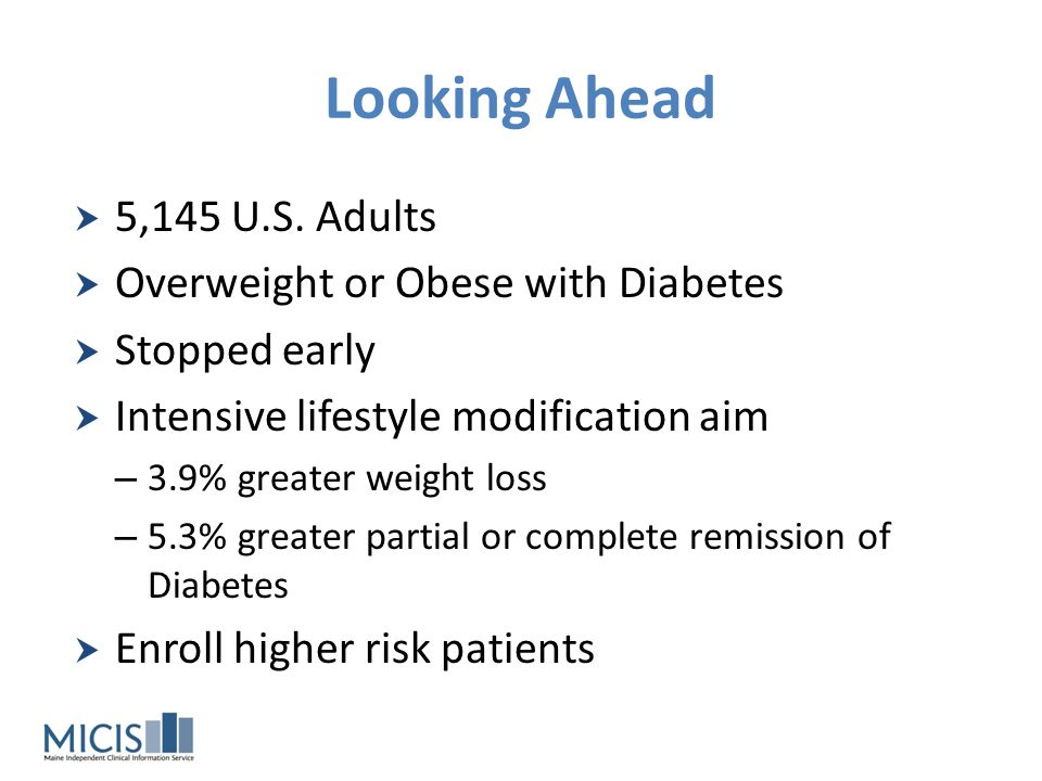 Looking Ahead 5,145 U.S. Adults Overweight or Obese with Diabetes