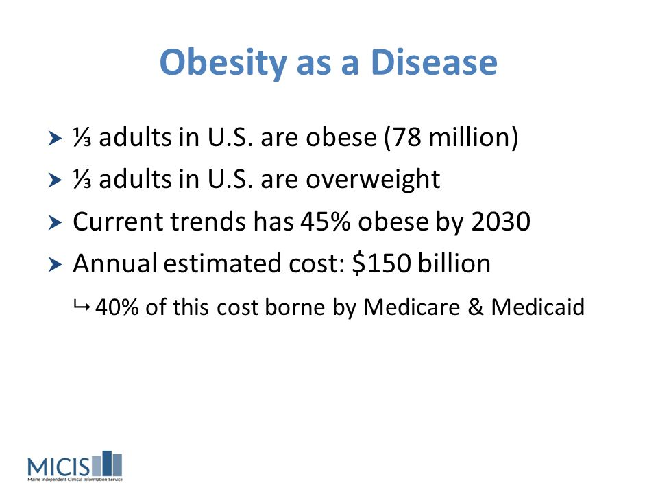 Obesity as a Disease ⅓ adults in U.S. are obese (78 million)