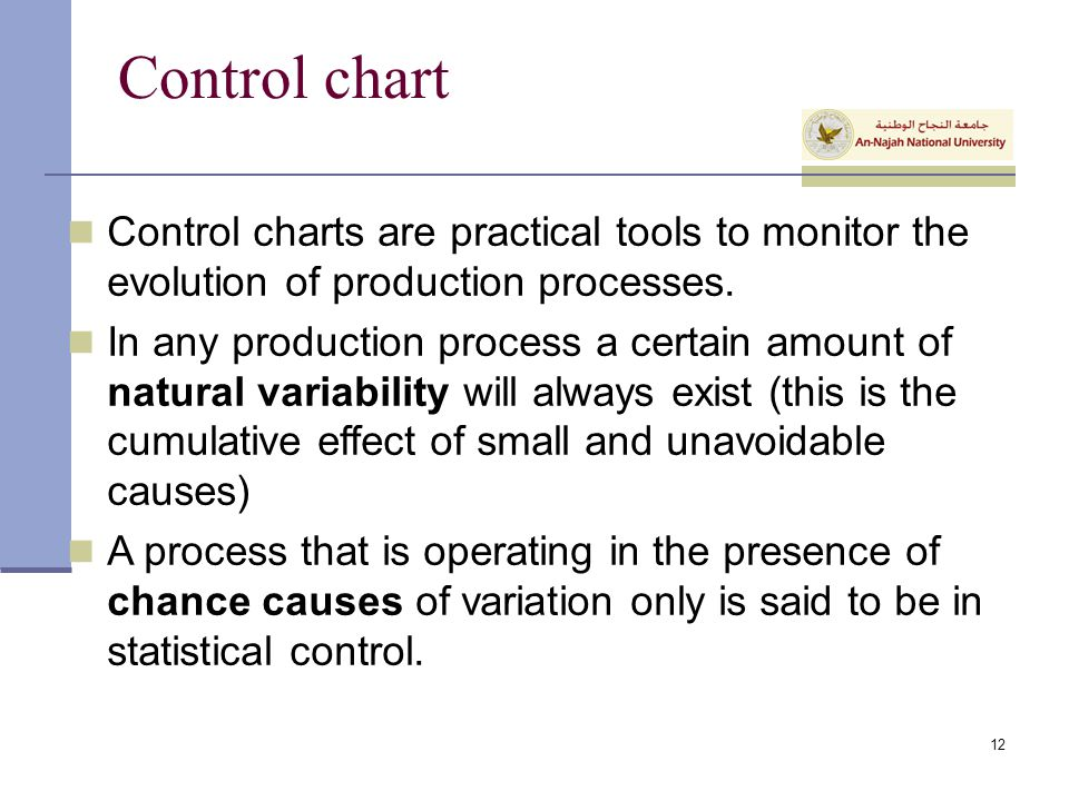 Control chart Control charts are practical tools to monitor the evolution of production processes.