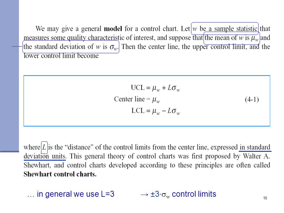 … in general we use L=3 → ±3·sw control limits