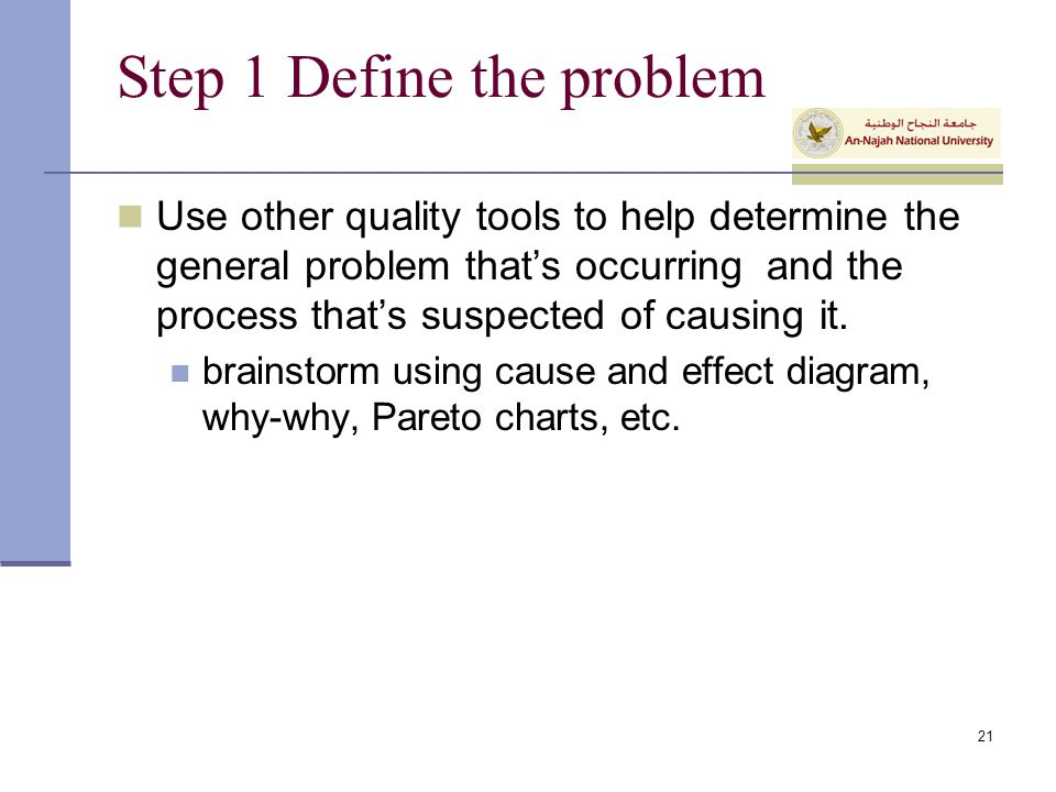 Step 1 Define the problem
