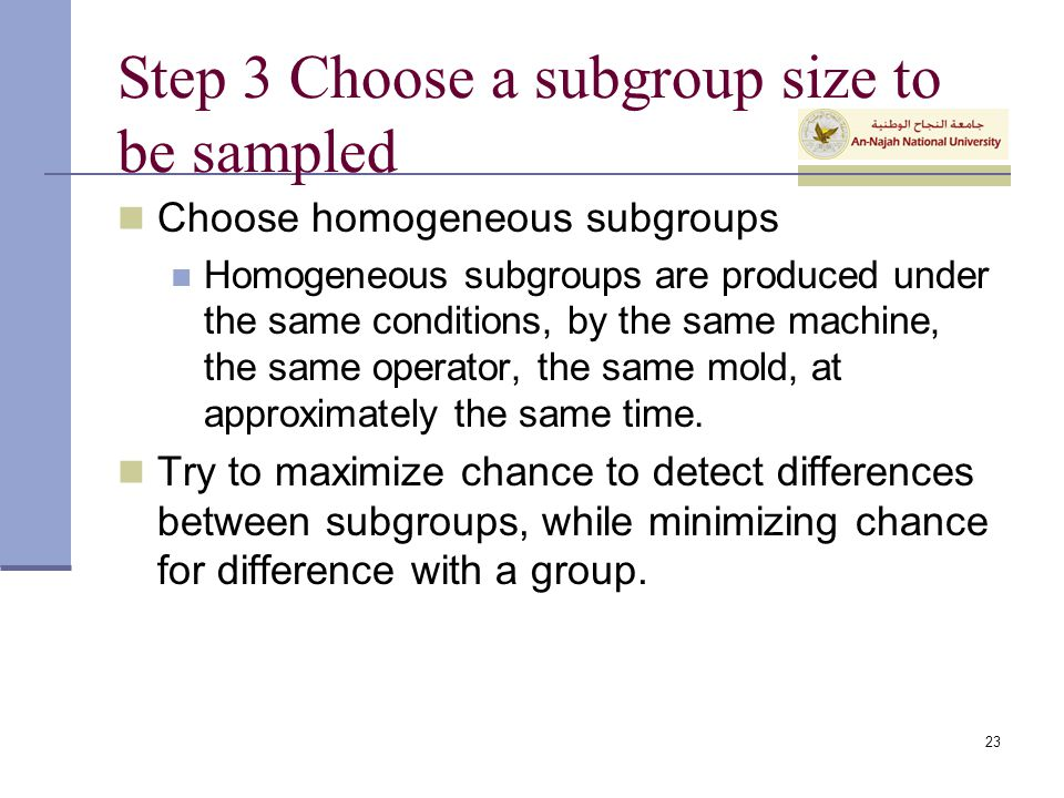 Step 3 Choose a subgroup size to be sampled