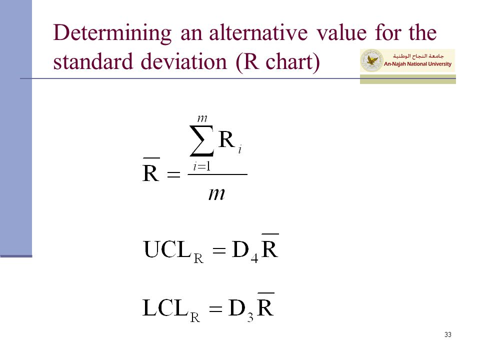 Determining an alternative value for the standard deviation (R chart)