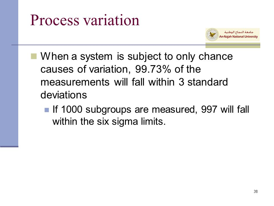 Process variation When a system is subject to only chance causes of variation, 99.73% of the measurements will fall within 3 standard deviations.