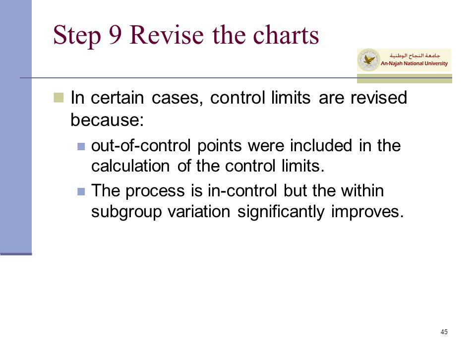 Step 9 Revise the charts In certain cases, control limits are revised because: