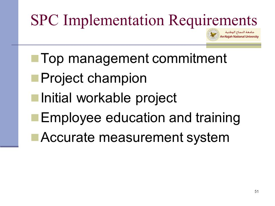 SPC Implementation Requirements