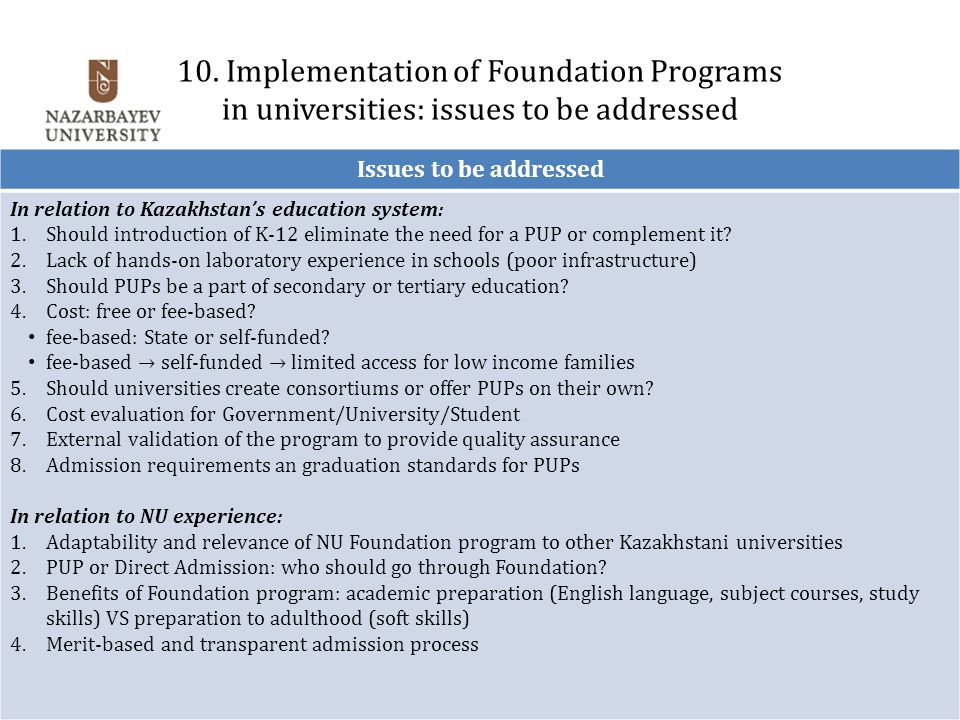 10. Implementation of Foundation Programs in universities: issues to be addressed