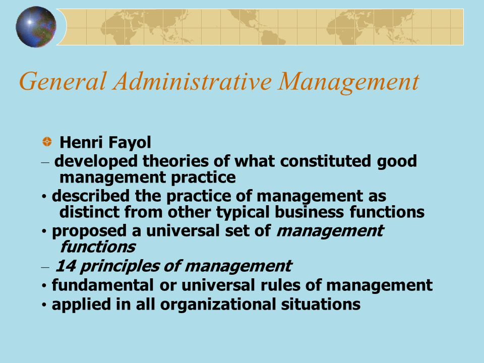 General Administrative Management