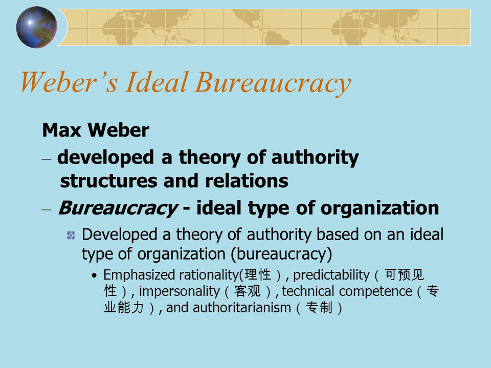 ideal bureaucracy He has emphasized that bureaucratic type of power is the ideal one (smriti  chand, 2010) primarily prescriptive in nature, weber's writings strike an  interesting.