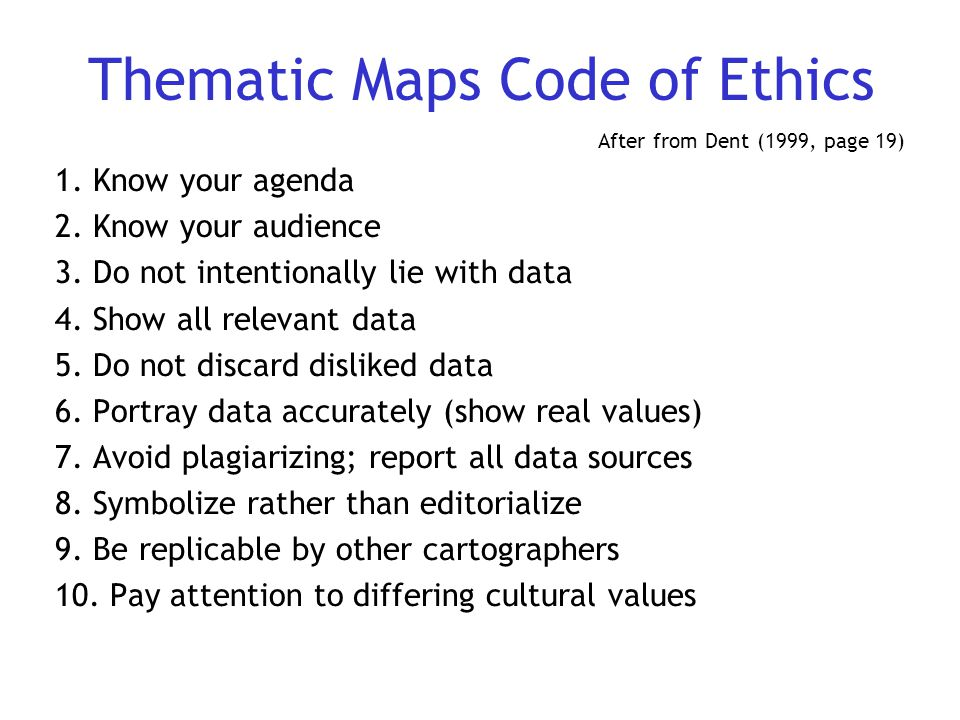 Thematic Maps Code of Ethics