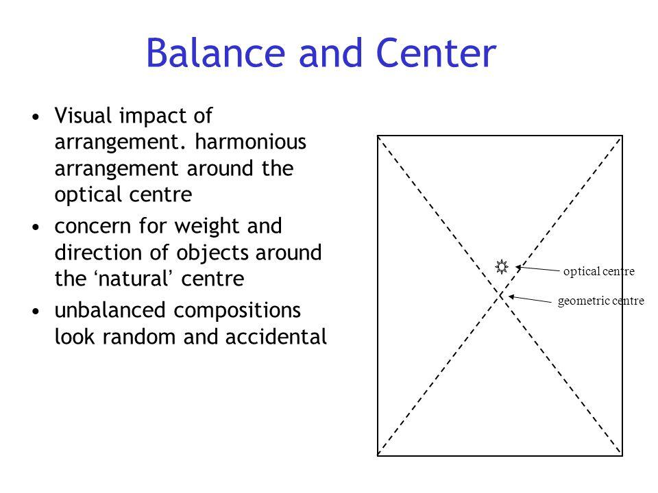 Balance and Center Visual impact of arrangement. harmonious arrangement around the optical centre.