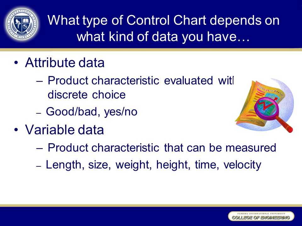 What type of Control Chart depends on what kind of data you have…