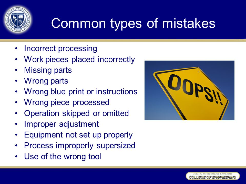Common types of mistakes