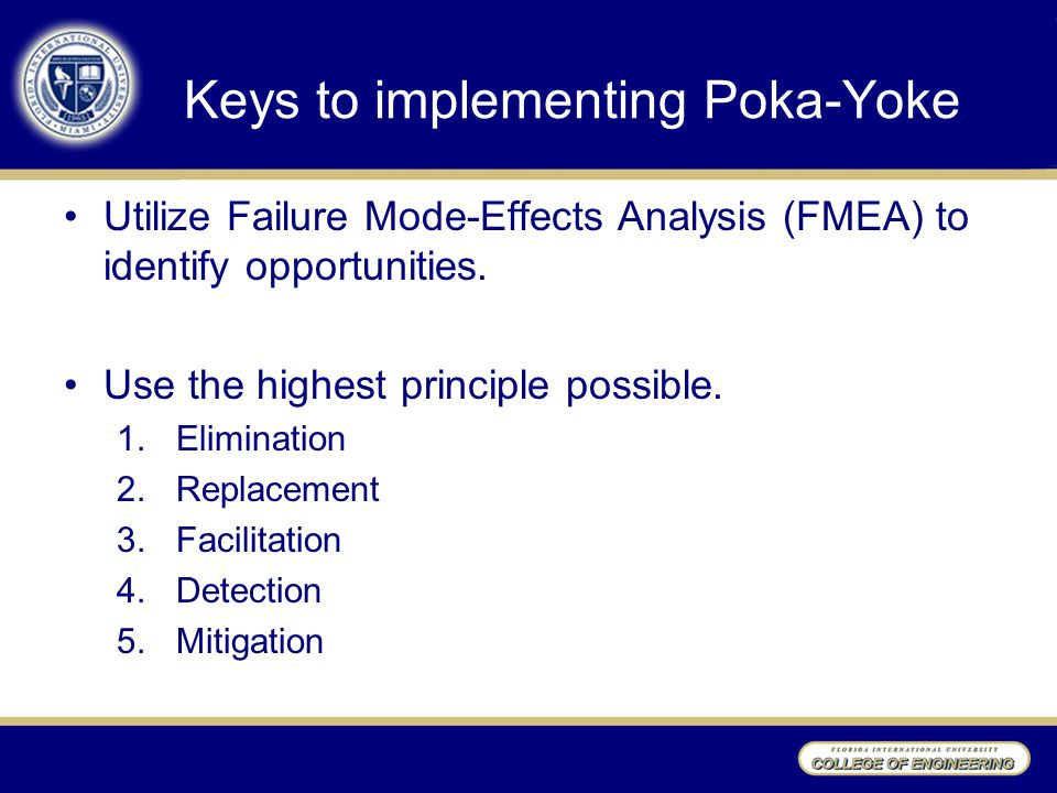 Keys to implementing Poka-Yoke