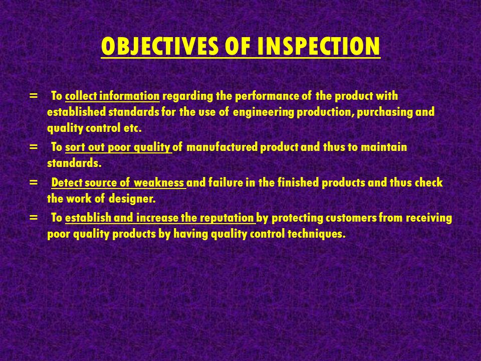 OBJECTIVES OF INSPECTION