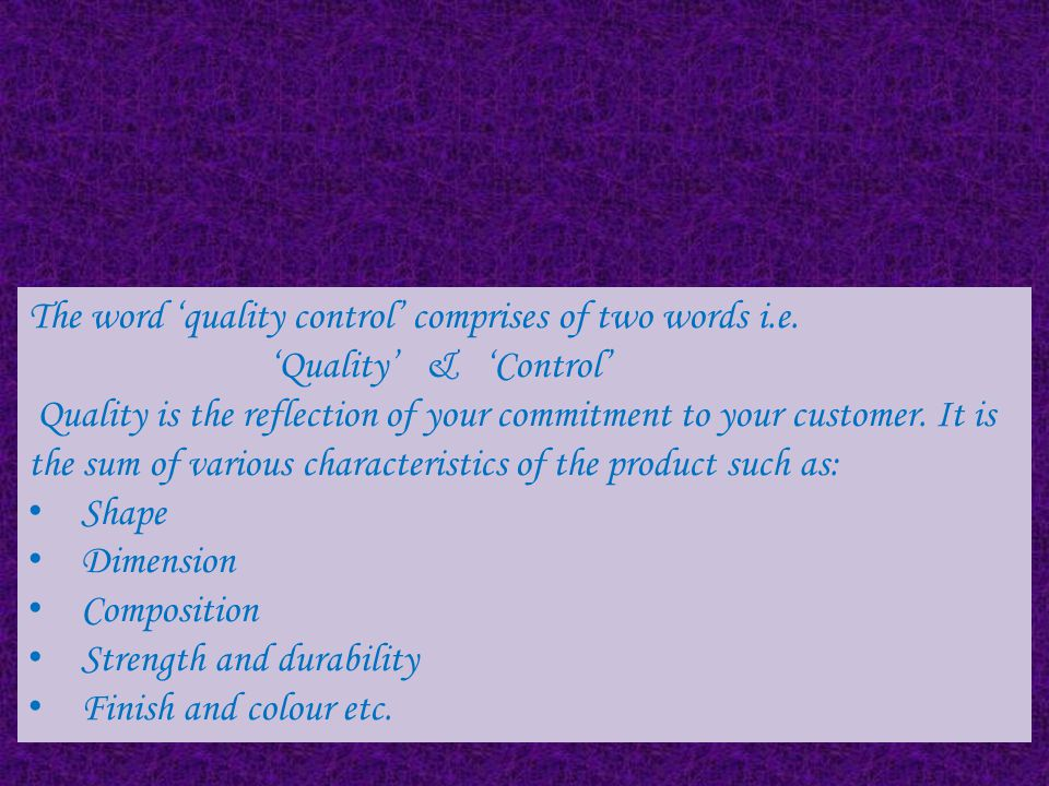 Meaning of Quality Control