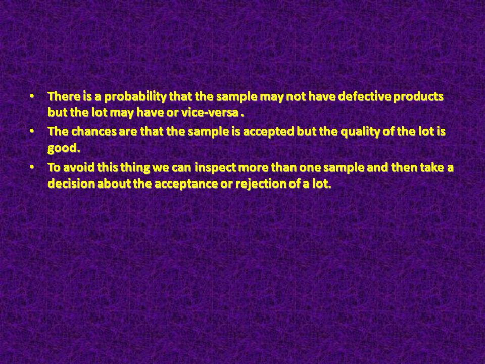 There is a probability that the sample may not have defective products but the lot may have or vice-versa .