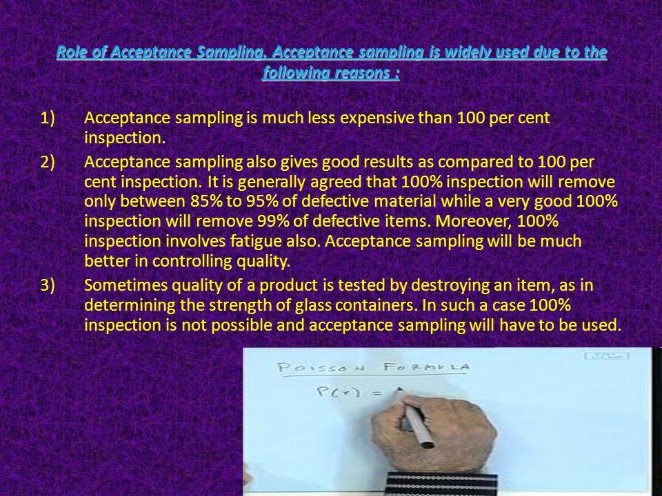 Role of Acceptance Sampling