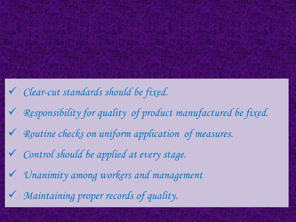 Principles of Quality Control System