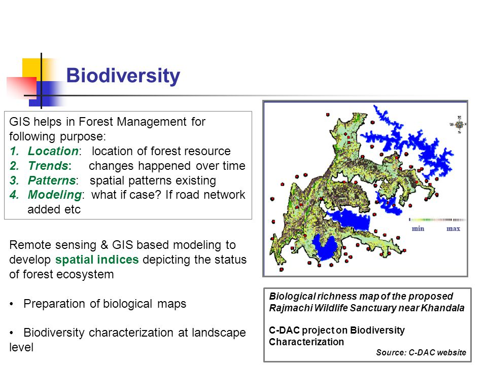 Biodiversity GIS helps in Forest Management for following purpose: