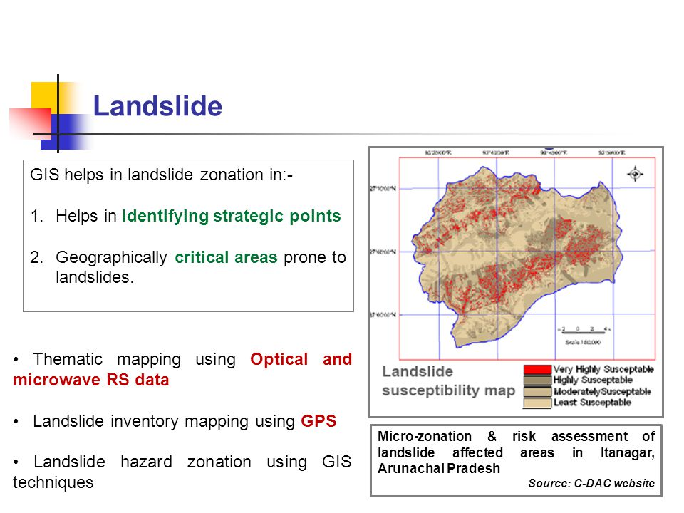 Landslide GIS helps in landslide zonation in:-