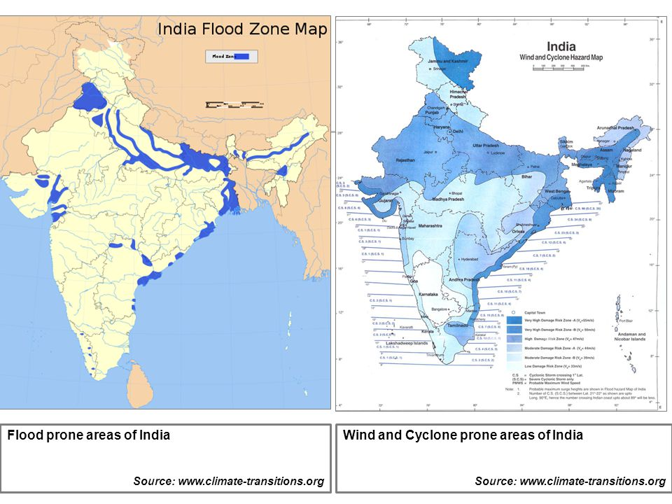 Flood prone areas of India Wind and Cyclone prone areas of India