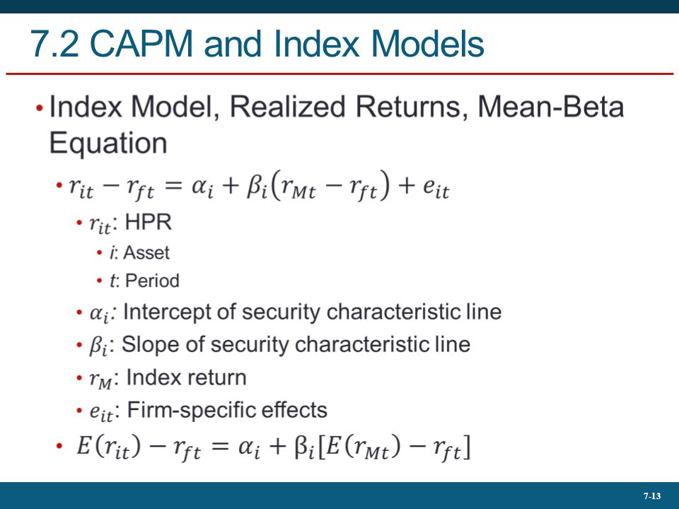7.2 CAPM and Index Models