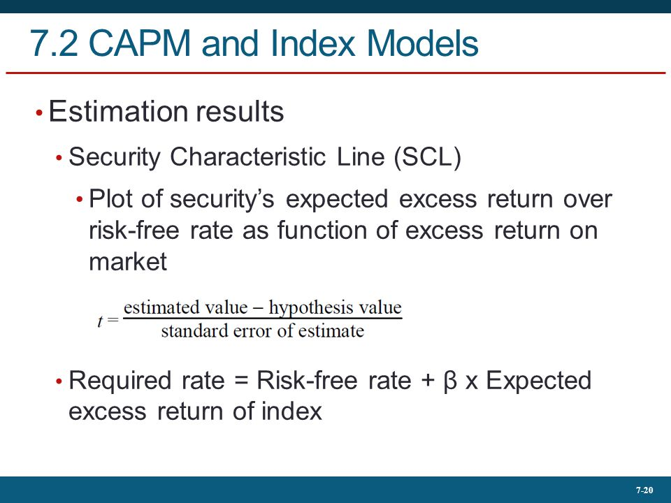 7.2 CAPM and Index Models Estimation results