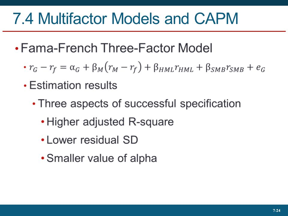 7.4 Multifactor Models and CAPM