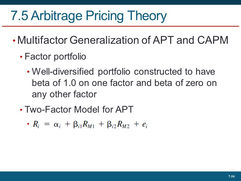 7.5 Arbitrage Pricing Theory