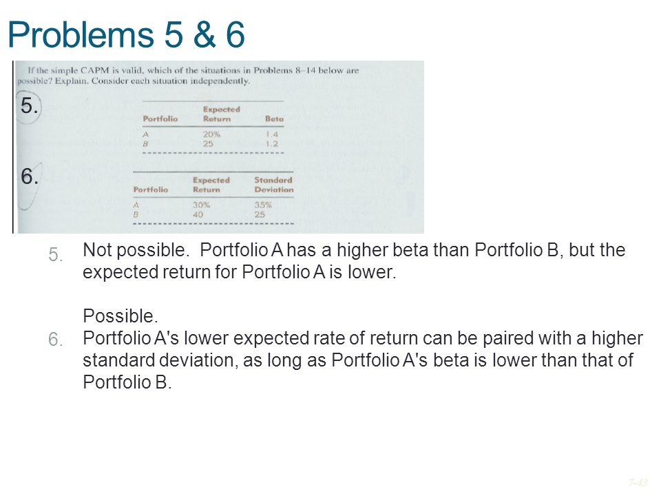 Problems 5 & 6 5. 6. Not possible. Portfolio A has a higher beta than Portfolio B, but the expected return for Portfolio A is lower.