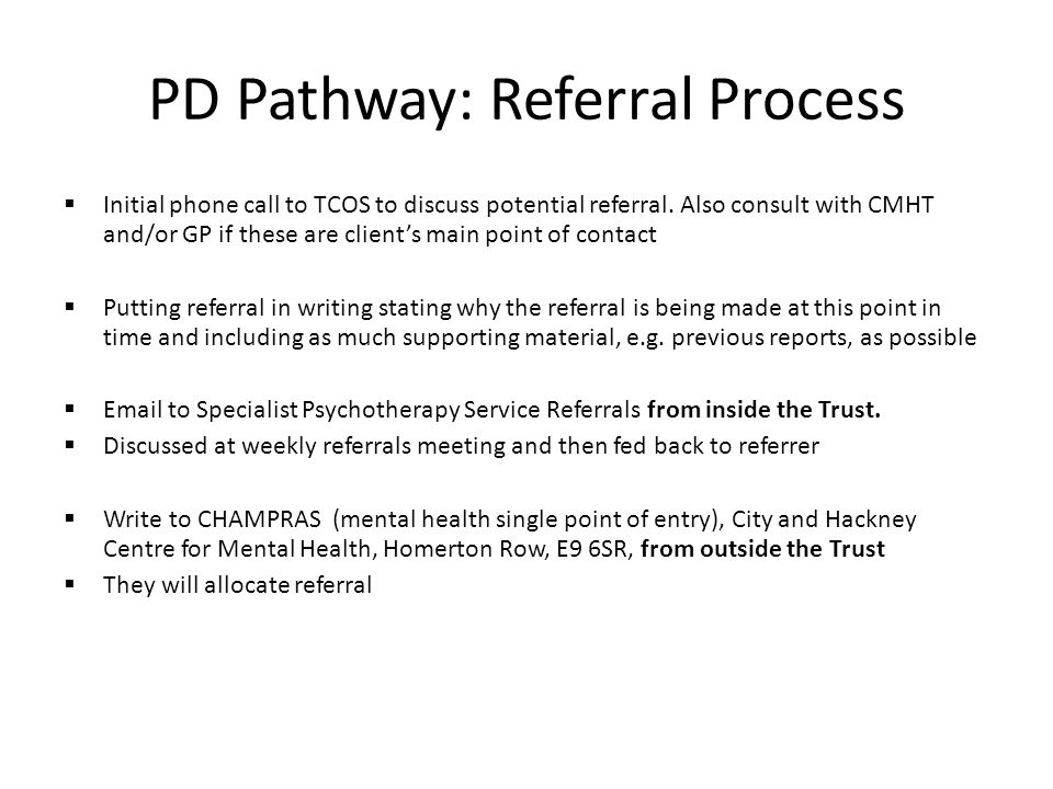 PD Pathway: Referral Process