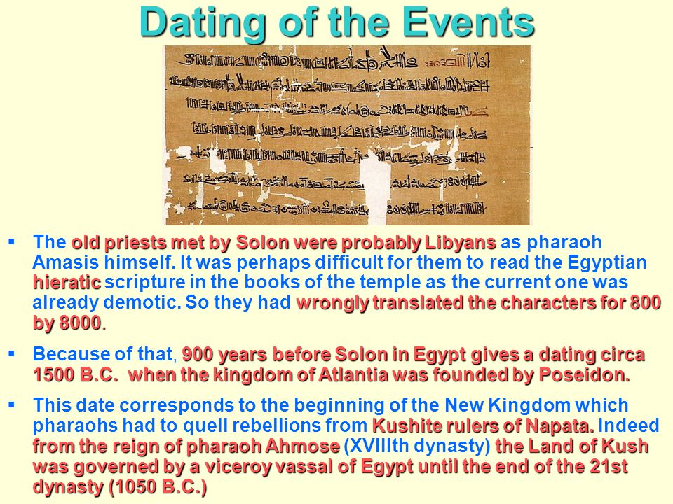 Dating of the Events