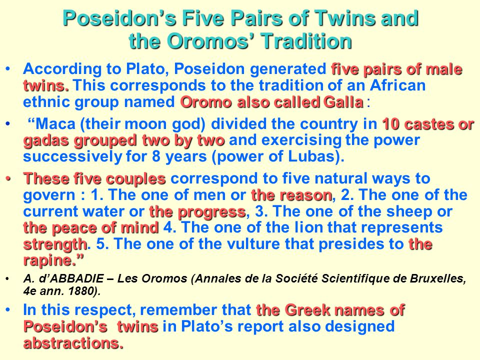 Poseidon's Five Pairs of Twins and the Oromos' Tradition