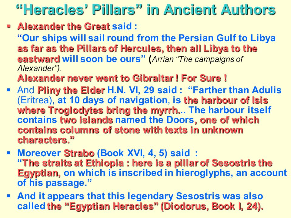 Heracles' Pillars in Ancient Authors