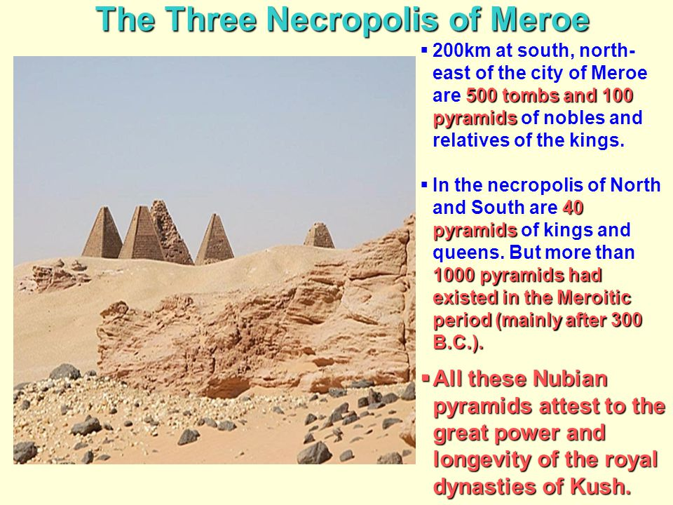 The Three Necropolis of Meroe