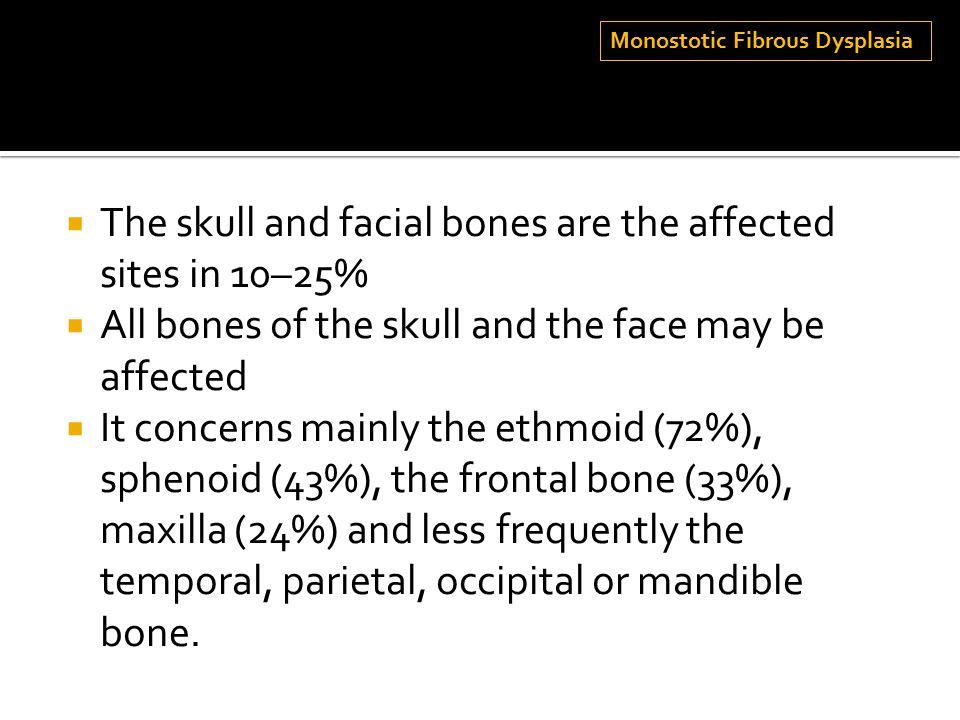 The skull and facial bones are the affected sites in 10–25%