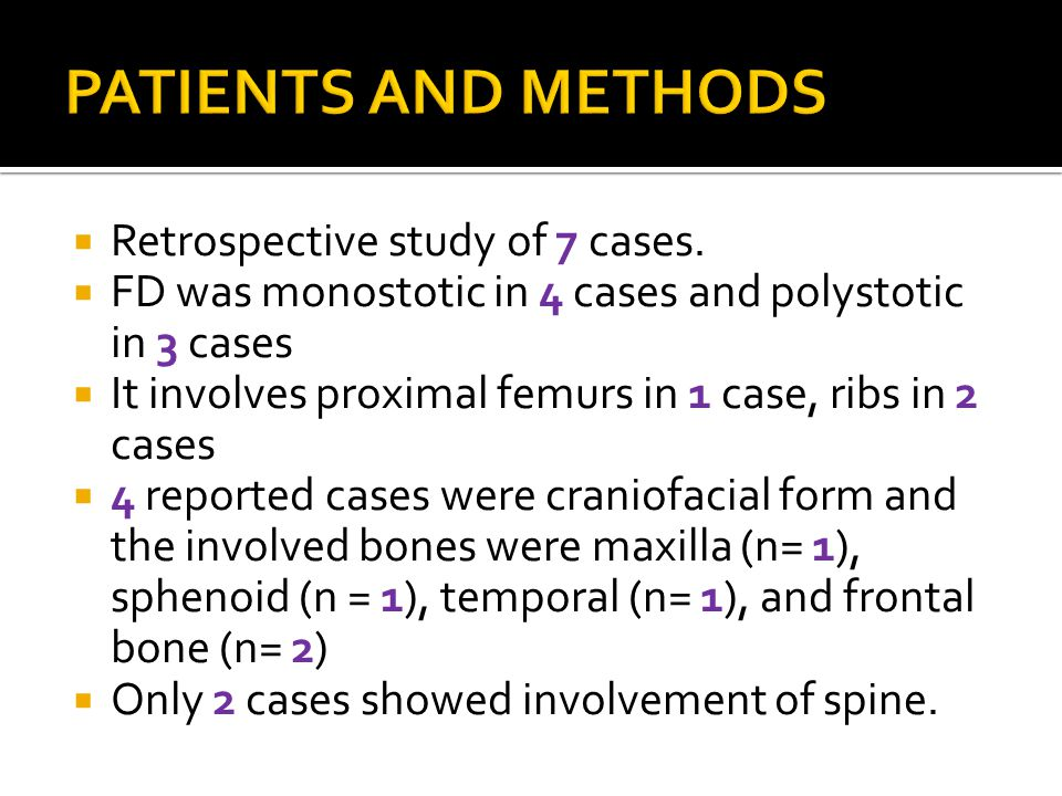 PATIENTS AND METHODS Retrospective study of 7 cases.