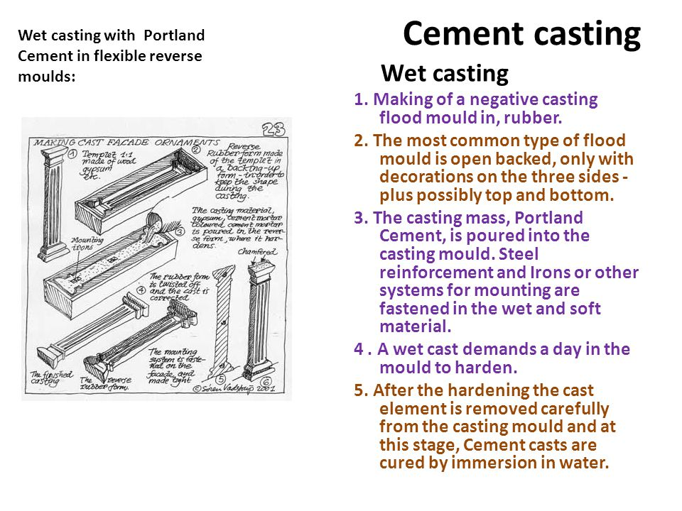 Cement casting 1. Making of a negative casting flood mould in, rubber.