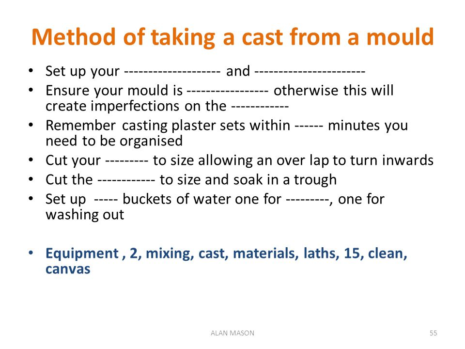 Method of taking a cast from a mould