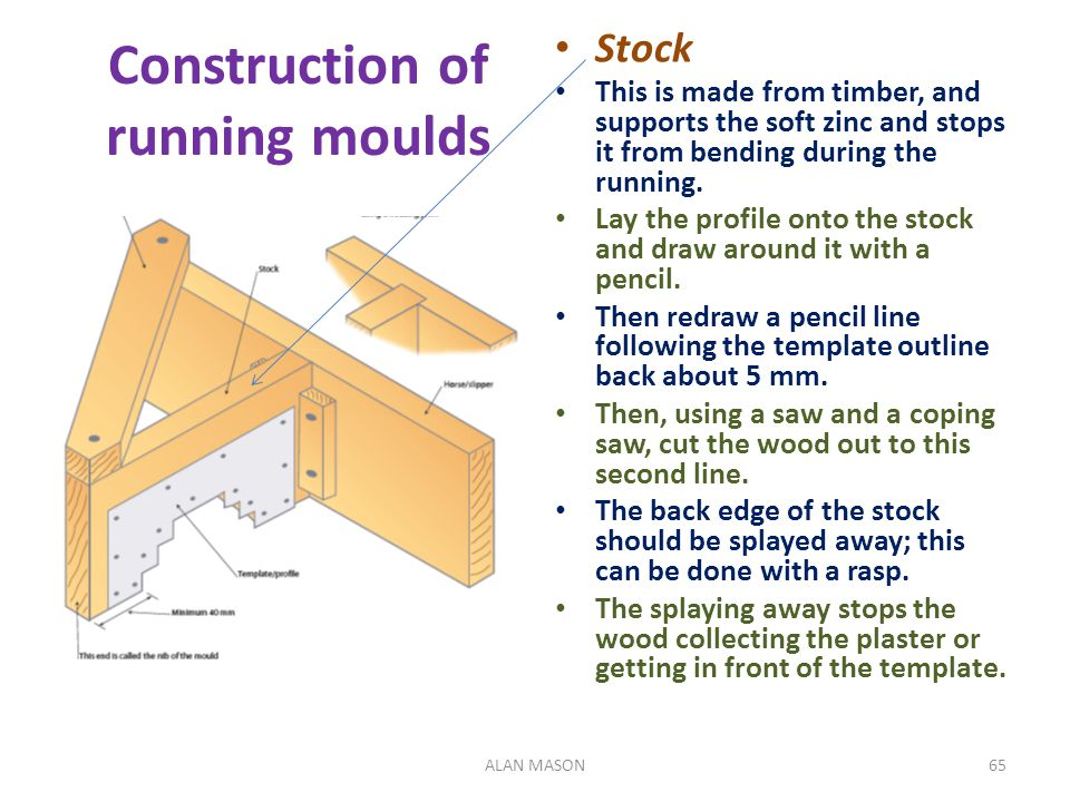 Construction of running moulds