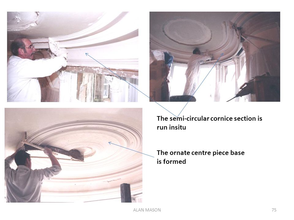 The semi-circular cornice section is run insitu